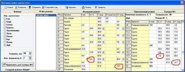 Окно программы компьютера для работы с режимами сушки древесины